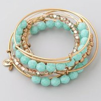 Alex and Ani Turquoise Expandable Wire Bangle Set | SHOPBOP