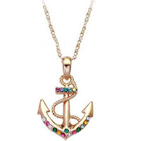 Golden Color Diamonds anchor pendant necklace