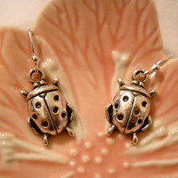 Tibetan Silver Lady Bug Dangle Earrings
