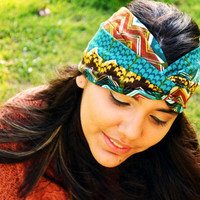 Turban Headband Headwrap Aztec Nomad Tribal Print Zig Zag Teal Yoga Workout Twisted Band Headpiece