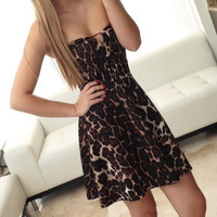 Leopard Print Heart Shaped Cup Dress  medium by Simonett Pereira