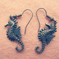 Vintage Style Earrings , Handmade Brass Earrings , Antique Bronze Charm Seahorse Design Dangle Earring Metalwork