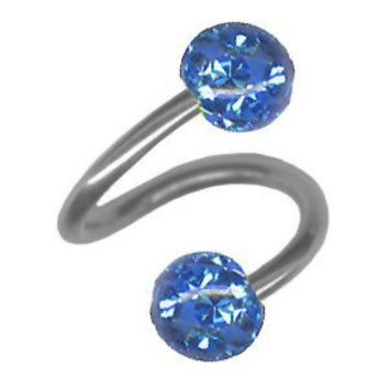 Tiny Sparkling Blue Spiral Cartilage Earring-18g 5/16 Stainless Steel Spiral Barbell with Two 4mm Sapphire Blue Ferido Balls for Tragus Earrings, Lip Rings