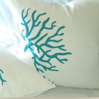 Designer Turquoise Coral Pillow cover Design 18 X 18 Pillow cover