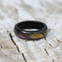 Vintage Black Iridescent Lucite Ring