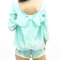 Freeport Waves Mint Bow Back Blouse Top