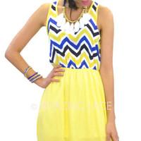 Madeira Beach Sun Dress Yellow &amp; Royal Chevron