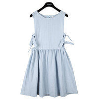 Sleeveless Denim Dress with Ribbon | FashionShop【STYLENANDA】