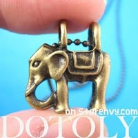 Small Elephant Animal Charm Necklace in Bronze