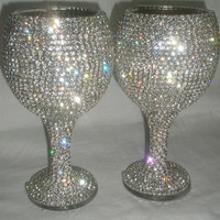 Custom designed handmade pair of wine glass, wedding, bride, groom, Swarovski, Czech rhinestones by Arzu's Style