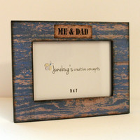 5x7 Wood Photo Frame Weathered Rustic Blue Paint