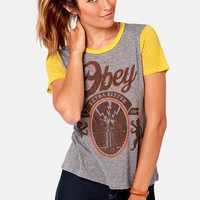 Obey &#x27;77 Brewski Nubby Grey and Yellow Print Tee