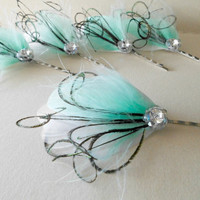5 Wedding Hair Pieces - Bridesmaid Set Feather Hair Pins Feather Fascinator White Mint Peacock