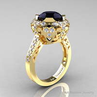 Modern Edwardian 18K Yellow Gold 3.0 Carat Black and White Diamond Engagement Ring, Wedding Ring Y404-18KYGDBD