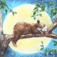 Animal baby BEAR nursery art print original fine art gift  playroom child decor, blue, 8x10