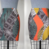 GEO SWIRL MINI - mini skirt, high waist skirt, stretchy knit skirt, geometric print, yellow orange green, black and white, triangle print