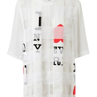 Browns fashion &amp; designer clothes &amp; clothing | 3.1 PHILLIP LIM | Nueva York Printed Patchwork Silk-cotton T-Shirt