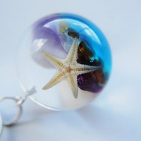 The Mermaid&#x27;s Necklace Starfish Nautical Globe Necklace Resin Jewelry Sea Semi Precious Stones Ocean from NaturalPrettyThings