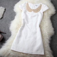 Gorgeous Beaded Rhinestones Slim Dress