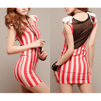 Pearls Shoulder Pads Perspective Mesh Back Stripes Dress