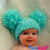 Baby Hats Baby Girl Hats Baby Pom Pom Hats Toddler Hat Crochet Baby Girl Hats Photography Props Hats Photo - Sea Green
