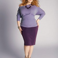 Michaela Curvy Plus Size Pencil skirt in Deep Purple