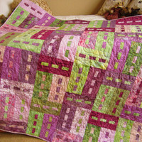 Batik Patchwork Quilt Purple and Green