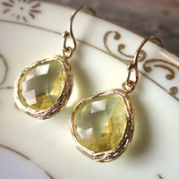 Citrine Earrings Yellow Teardrop Gold Plated Glass - Bridesmaid Earrings - Wedding Earrings - Christmas Gift