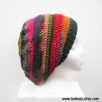 Vagabond Slouch Hat in multicolor stripes, ready to ship.