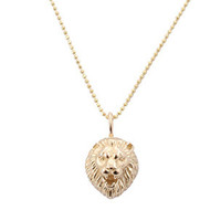 Zoe Chicco Lion&#x27;s Head Necklace-Gold | Rain Collection