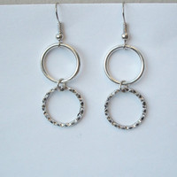 Tibetan Silver Circle Hoop Earrings