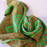 Kelly Green Scarf with Ornate Orange Border Decorations, Silk, 50s 60s