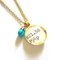 Teal Hurricane Glass Drop 22K Gold Dewey Decimal Nerd Necklace Librarian Teacher Gift