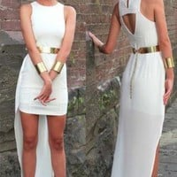 White Dip Hem Bodycon Dress with Gold Belt