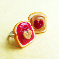 strawberry jam peanut butter and jelly best friend rings bff polymer clay HEARTS