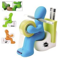 Butt Station Tape Dispenser, Pen & Memo Holder, Paper Clip Storage, Green: Office Products