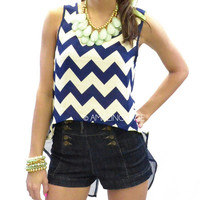 Deep Atlantic Blue Chevron Hi Low Navy Top