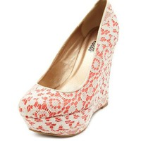 Pop Color Lace Overlay Wedge: Charlotte Russe