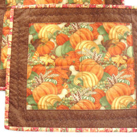 Fall Autumn Harvest Pumpkin Place Mats Quilts Set of 2  Brown Orange Green