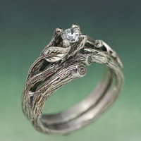 ACADIA WEDDING RING Set  Engagement Ring Matching by BandScapes