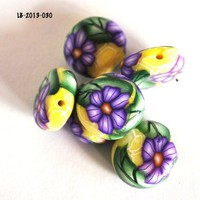 Purple Flower Beads on Yellow Polymer Clay Flat Handmade Green Leaves
