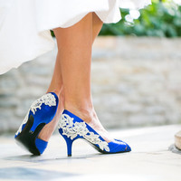Wedding Shoes - Royal Blue Wedding Shoes, Blue Bridal Heels with Ivory Lace. US Size 7