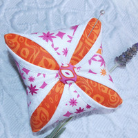 Lavender Scented Pincushion Sachet Cathedral Window Mini Pillow Orange Purple White