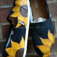 Sunflower Power Hand Painted Custom TOMS Shoes
