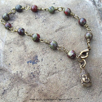 Buddha Charm - Dragon Blood Jasper - Beaded Link Bracelet - Unisex