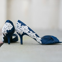 Wedding Shoes - Navy Blue Heels, Navy Wedding Shoes with Ivory Lace. US Size 9.5