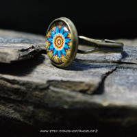 Kaleidoscope Yellow and Turquoise Flower Burst  Ring        - Adjustable