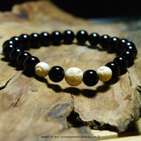 Black Onyx with Carved Bone Beaded Meditation Bracelet