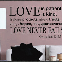 Vinyl Wall Lettering LARGE Love is Patient Love by WallsThatTalk