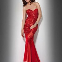 Chic Hot Trumpet / Mermaid Sweetheart Floor Length Chiffon Red Evening Dress / Prom Dress 2013 New [10104948] - US$140.99 : DressKindom